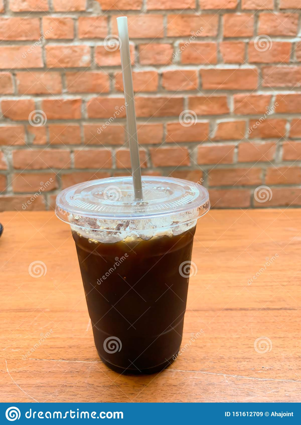 Black coffee on the table background