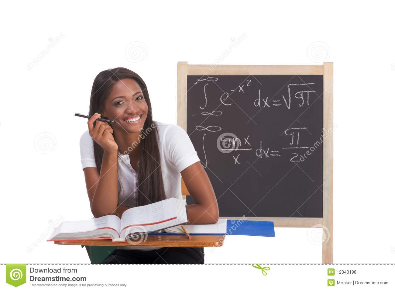 Black College Student Woman Studying Math Exam Royalty ...