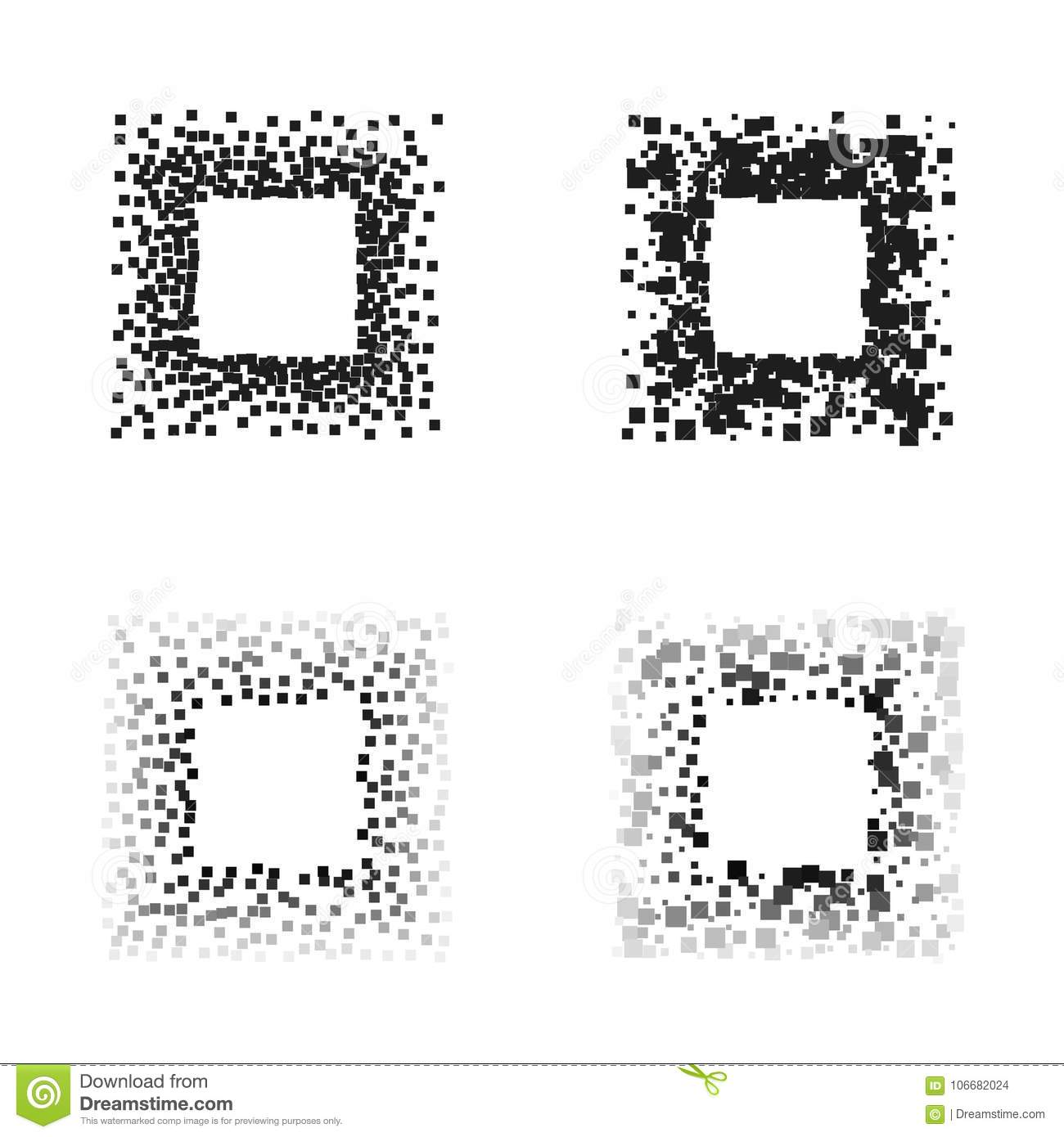Black Color Square Frames Isolated On White Background With Space