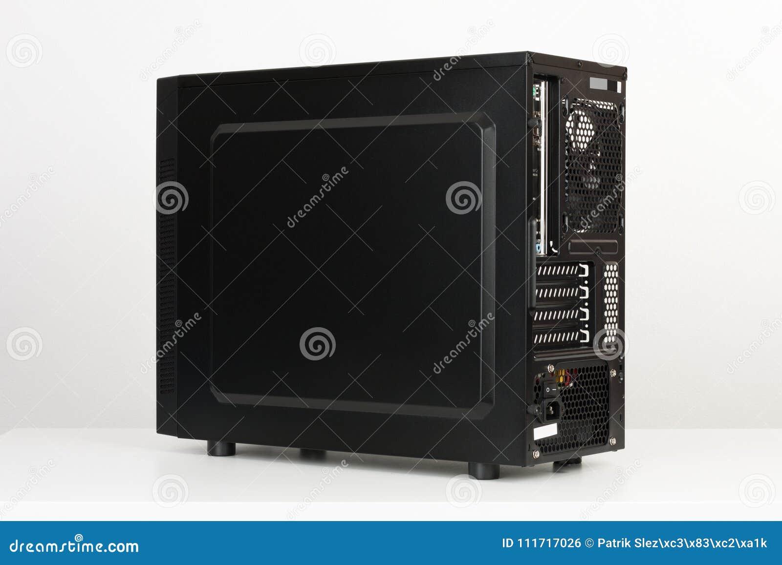 black computer case midi tower for micro atx motherboard stock