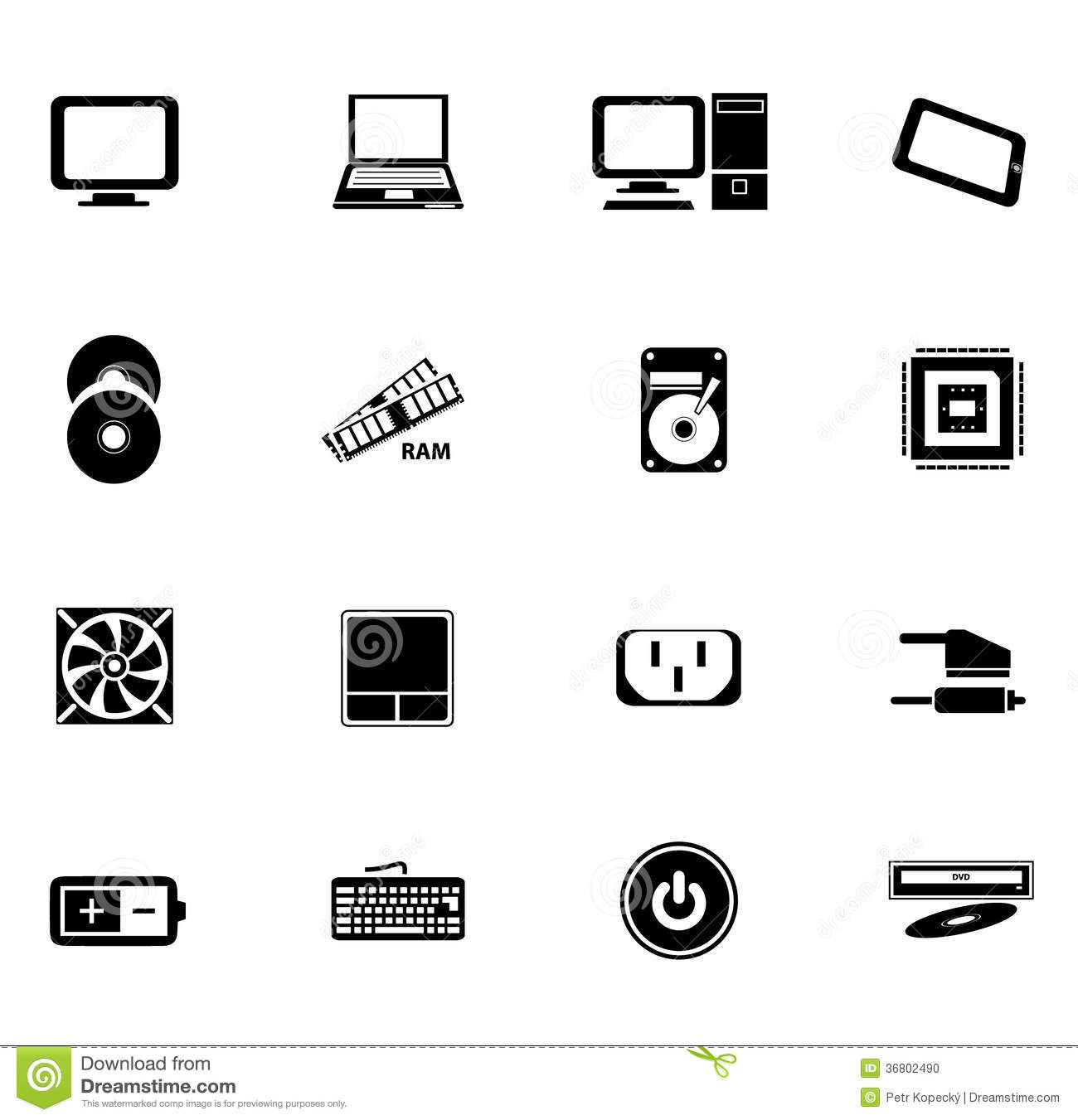 black computer icons stock photo