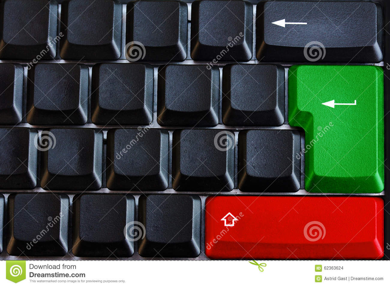Black computer keyboard with green and red button