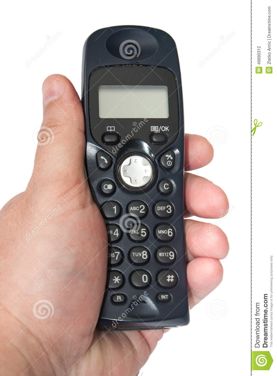 Black cordless phone in the hand on the white background