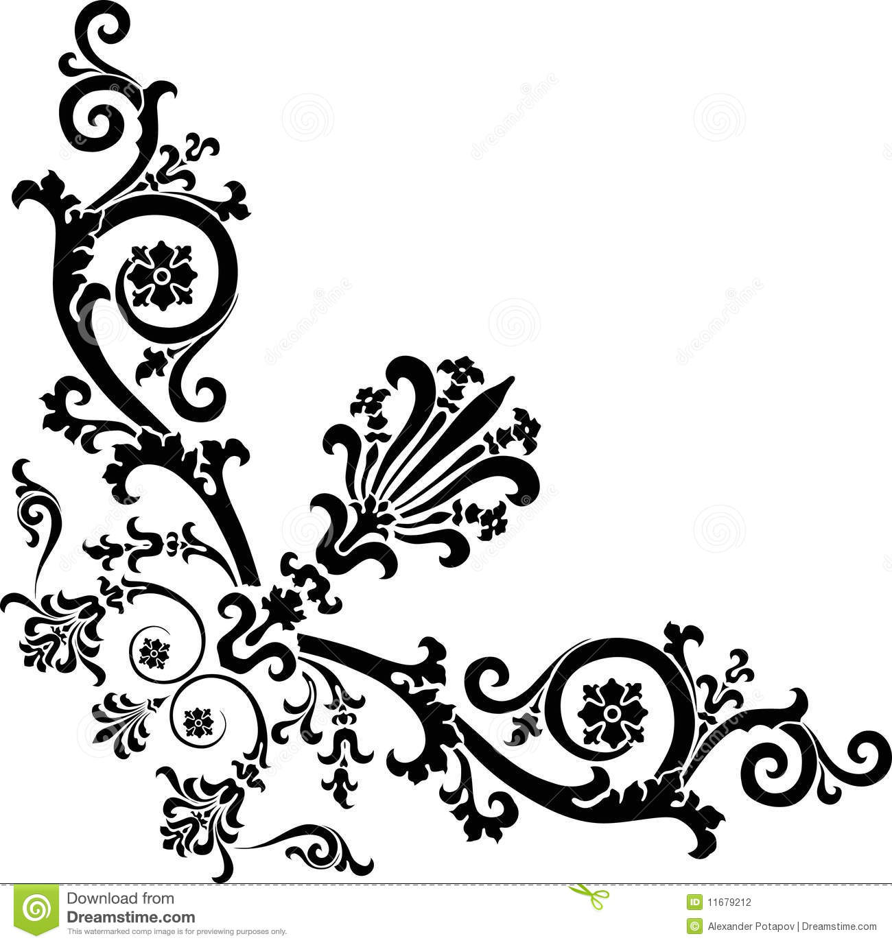 black corner design with curles stock photography image