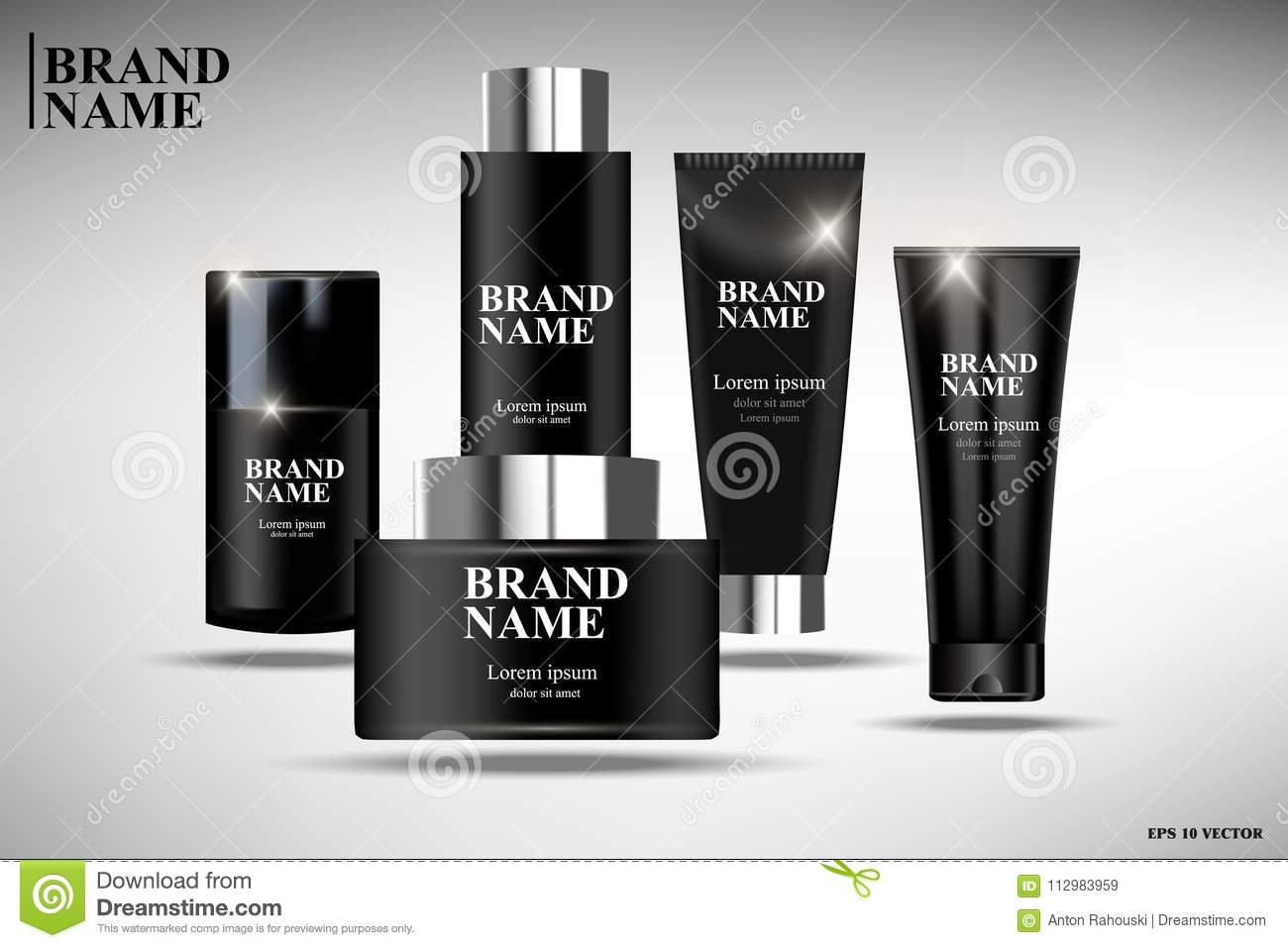Black realistic cosmetics, black cosmetic packaging design, illustration of cosmetics for promoting premium products