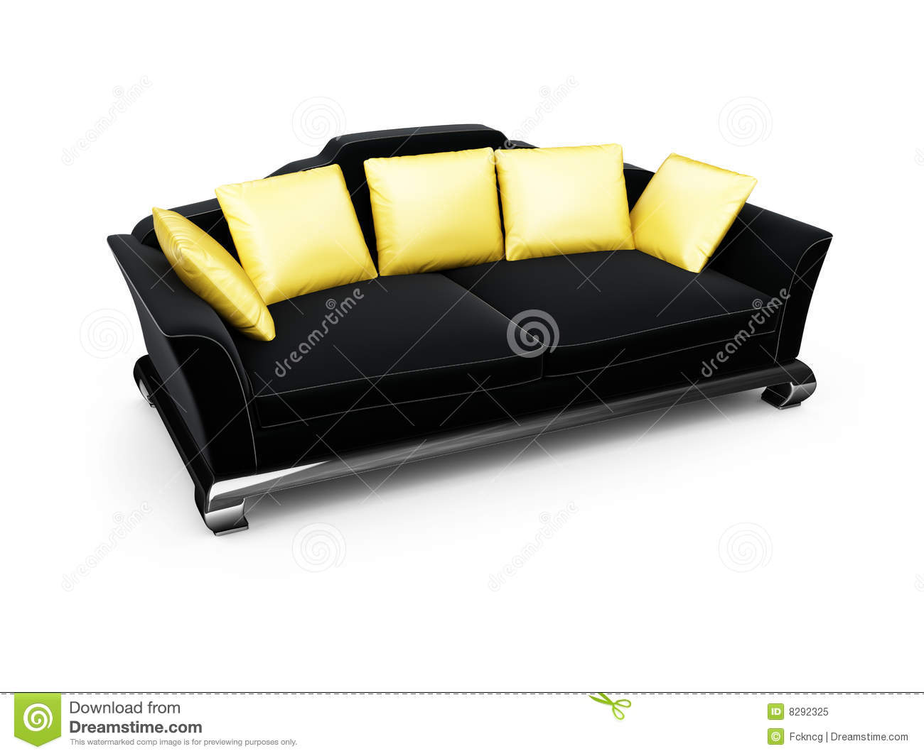 Picture of: Black Couch With Gold Pillows Over White Stock Illustration Illustration Of Rest Render 8292325