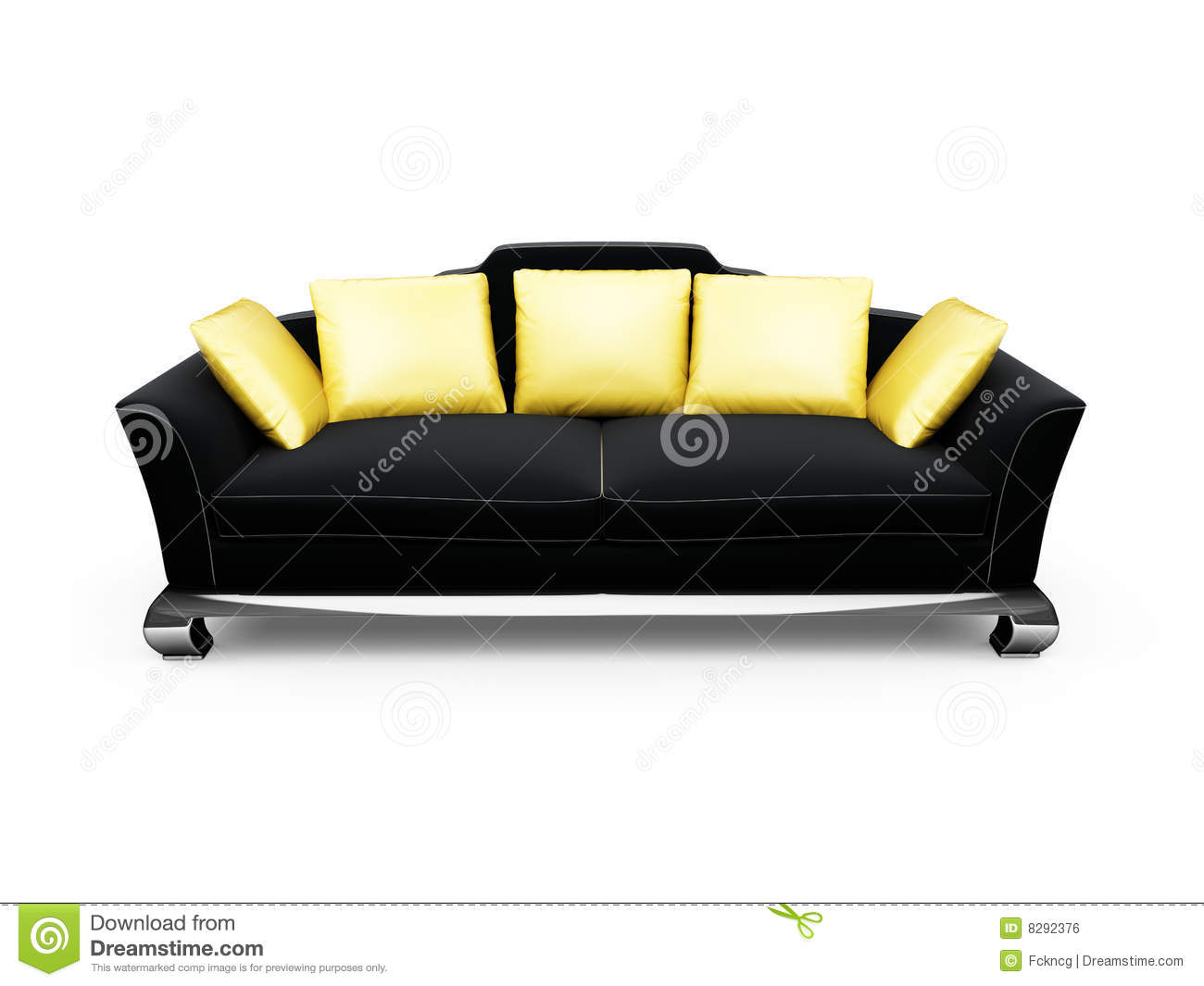 black couch with gold pillows over white royalty free stock image