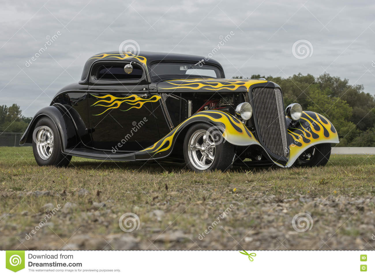 Black Custom Hot Rod With Flames Editorial Photo - Image of grill ...