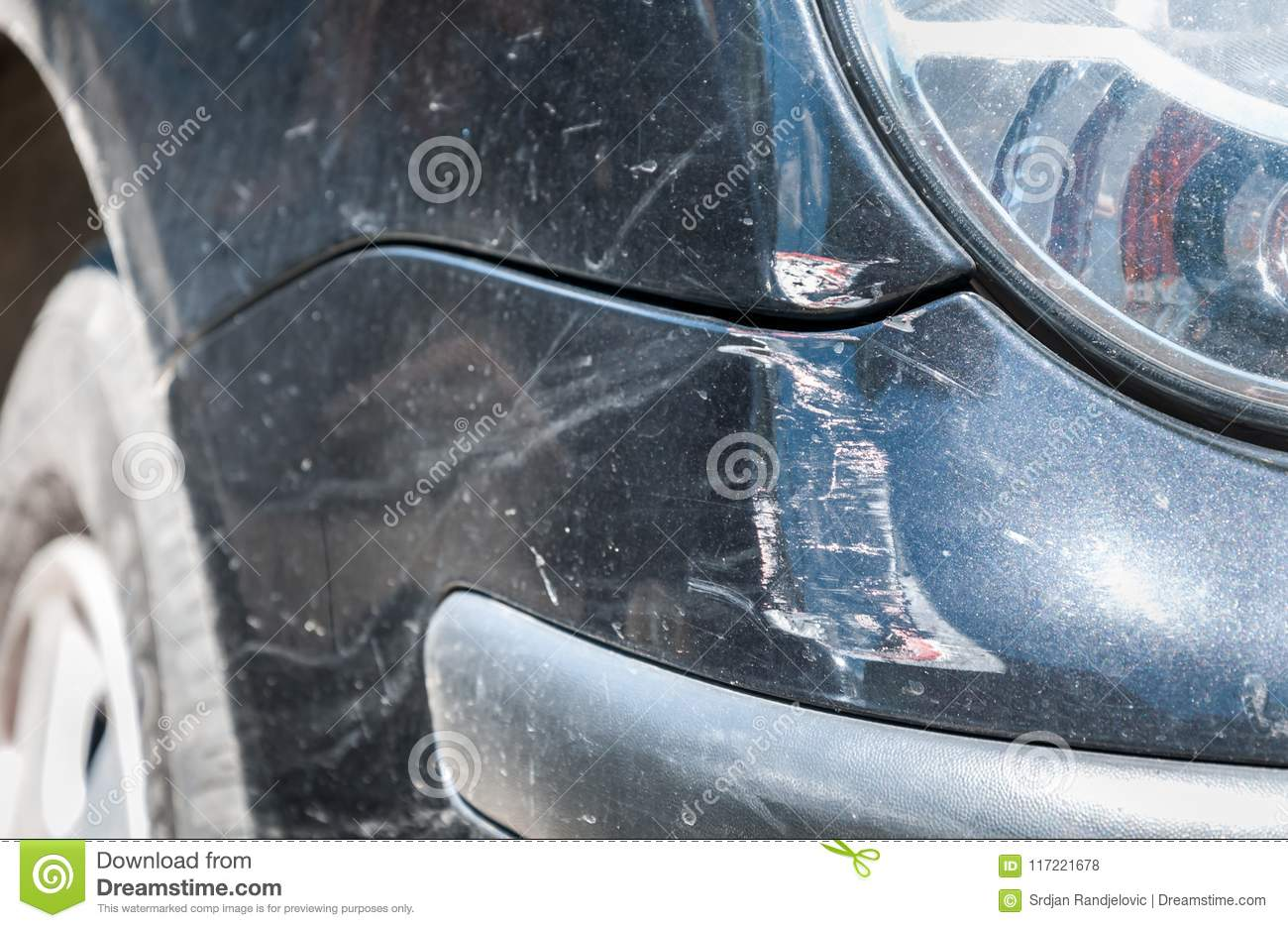 Black Damaged Car In Crash Accident With Scratched Paint And