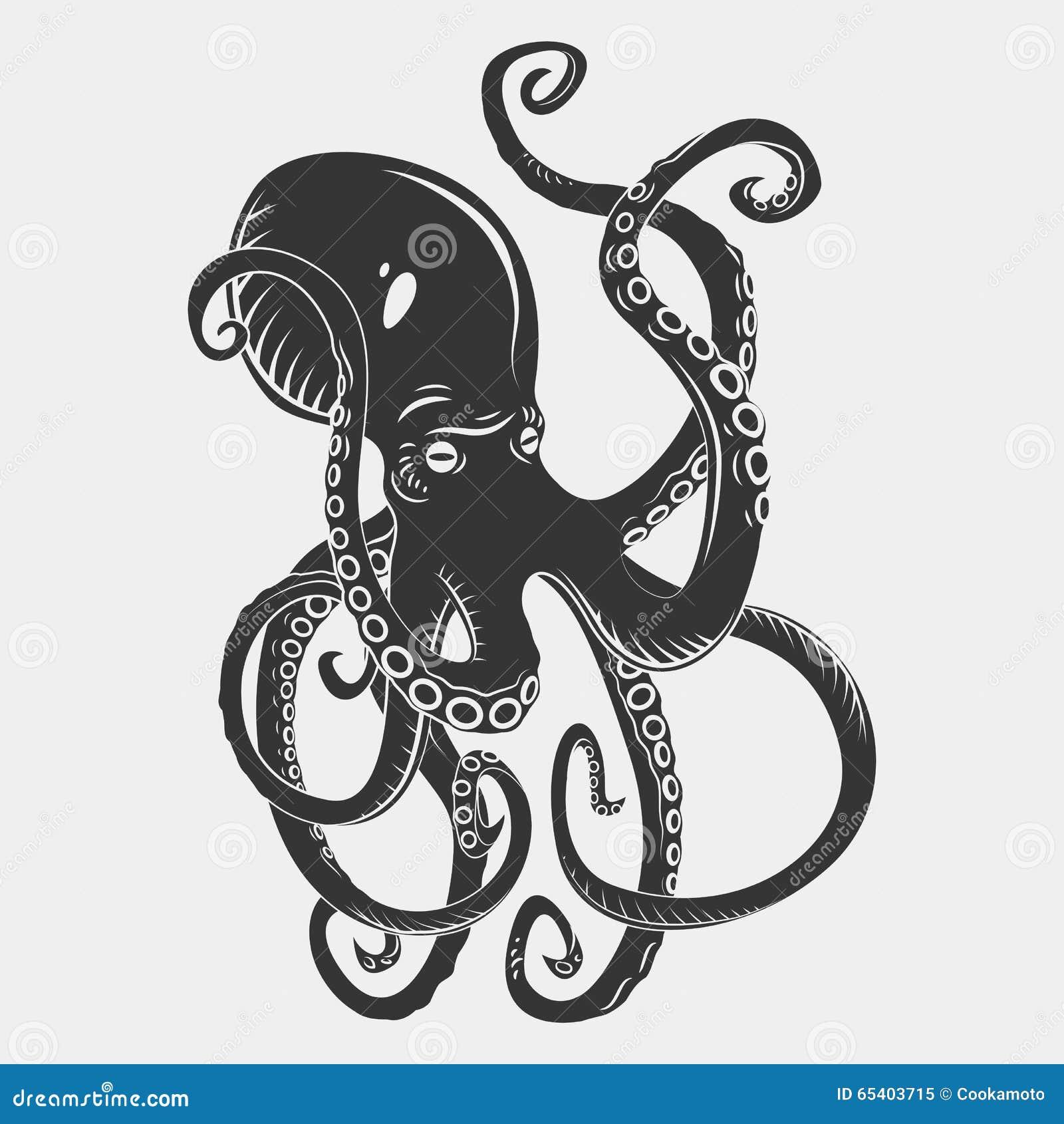 Black danger cartoon octopus characters with