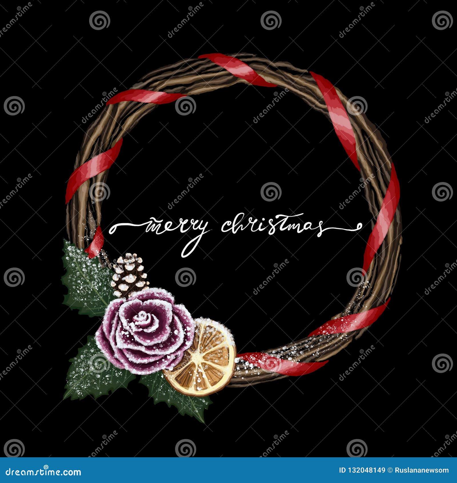 Black Dark Black Winter Merry Christmas Wreath Illustration With Festive Holiday Wreath Merry Christmas Lettering Stock Image Illustration Of Green Festive 132048149