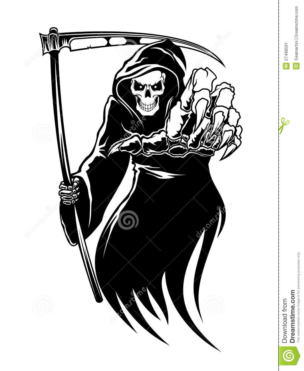 Black death monster with scythe