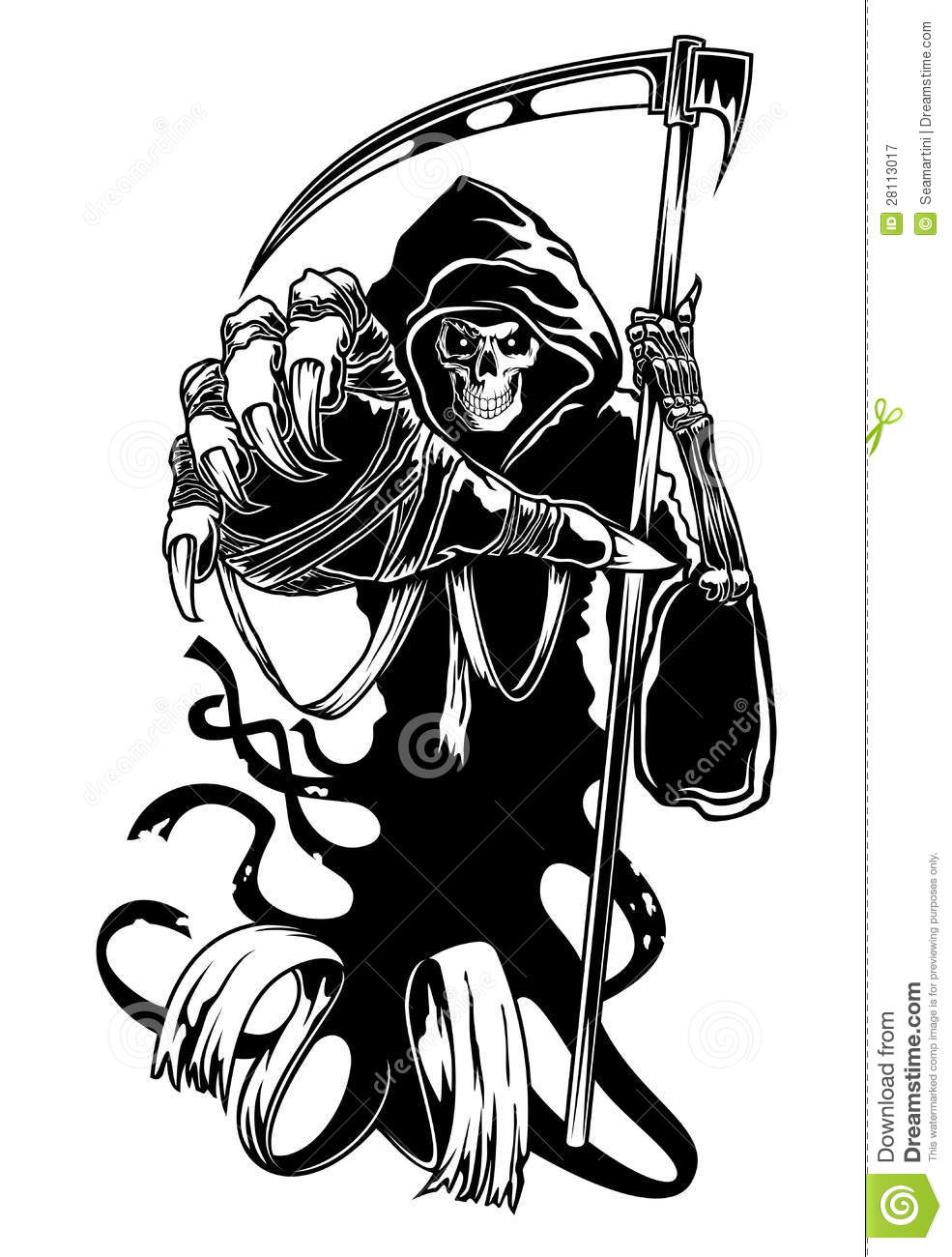 Black Death With Scythe Stock Vector Illustration Of Fear 28113017