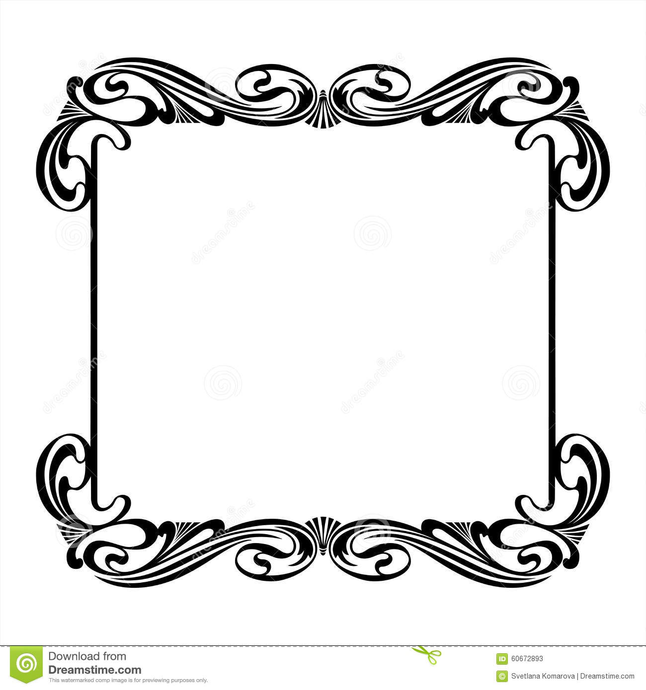 black decorative square frame in the art nouveau style