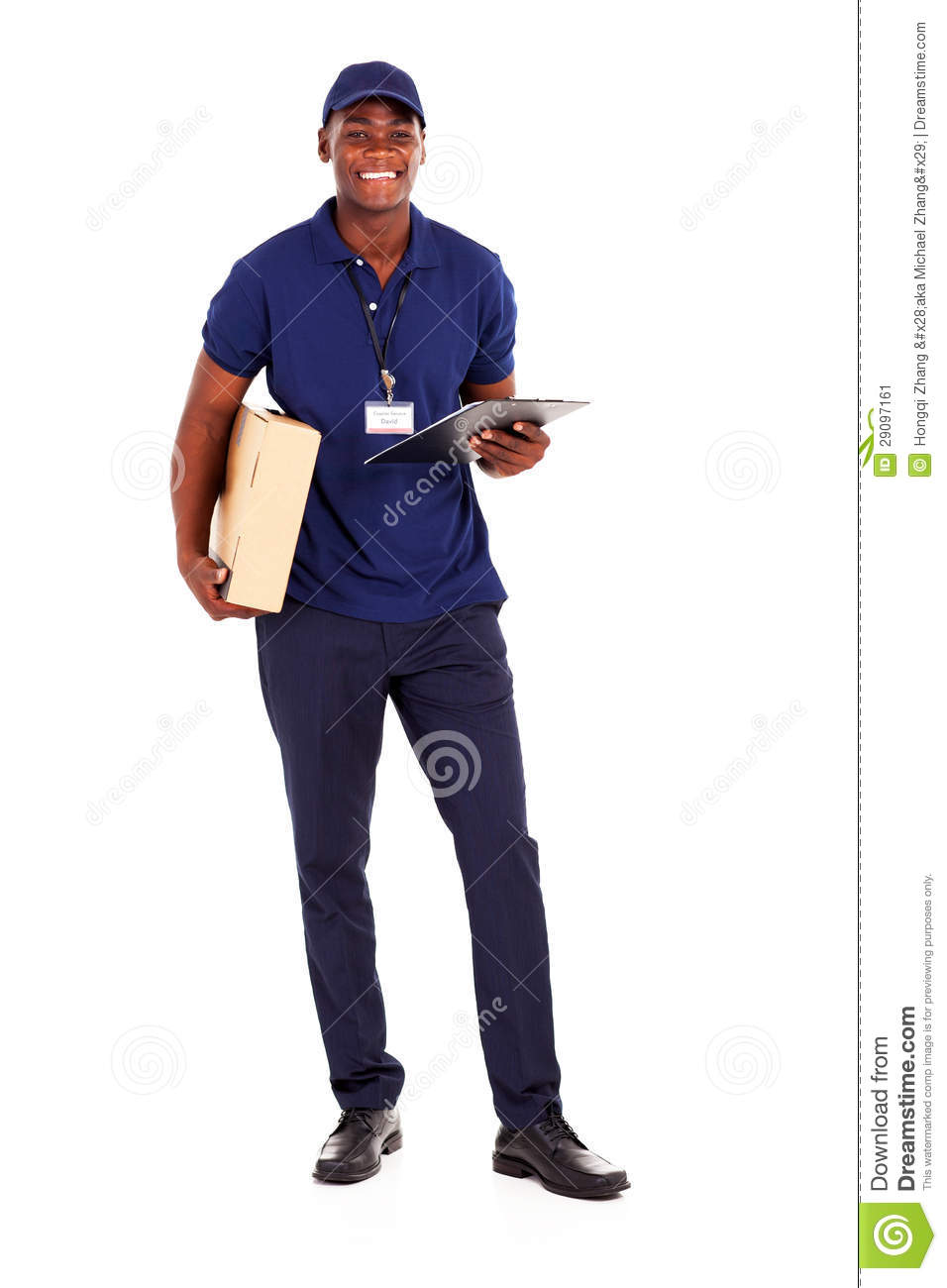 black delivery guy stock image image of carton blue 29097161