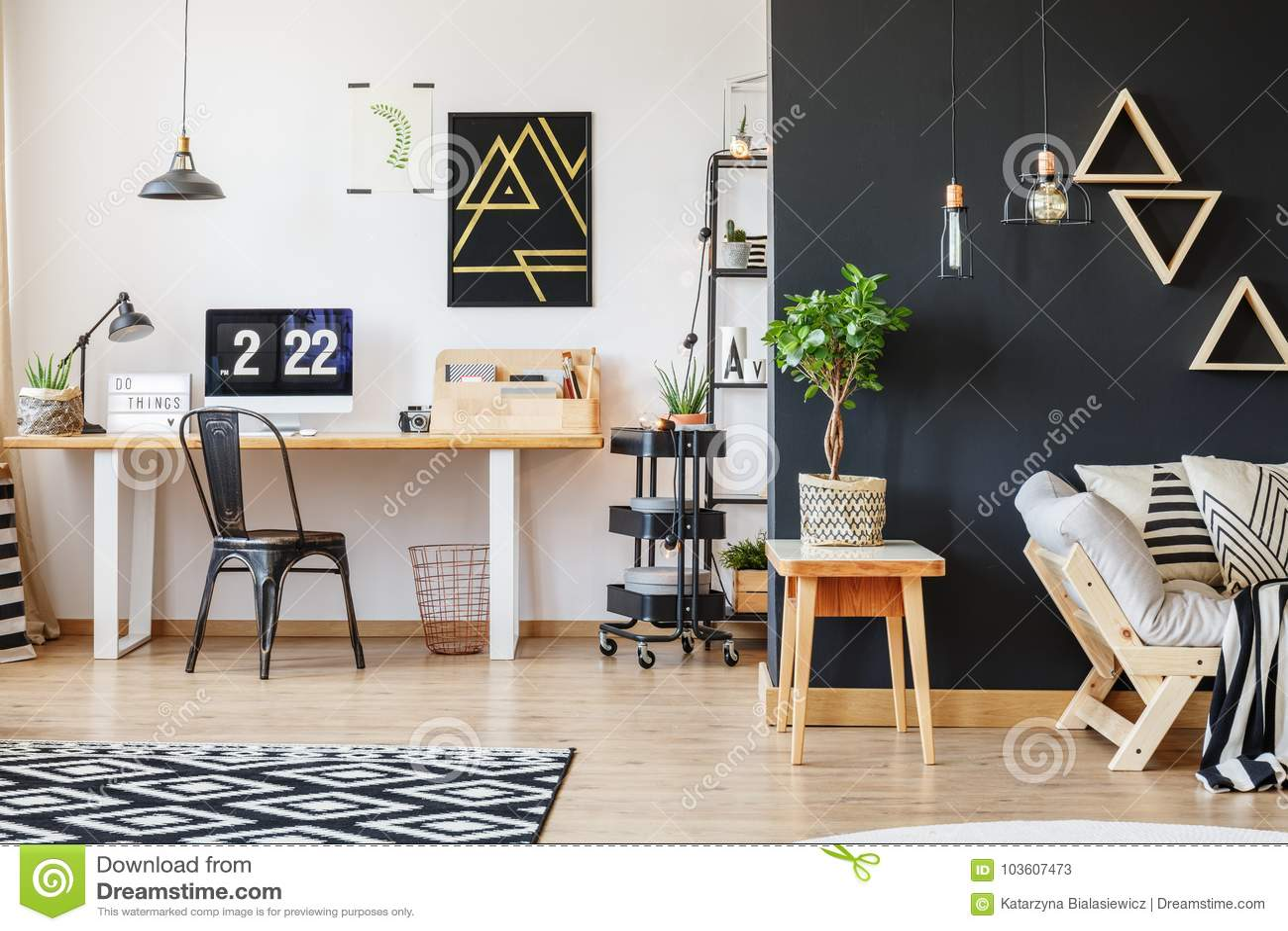 Creative workspace with triangle motive