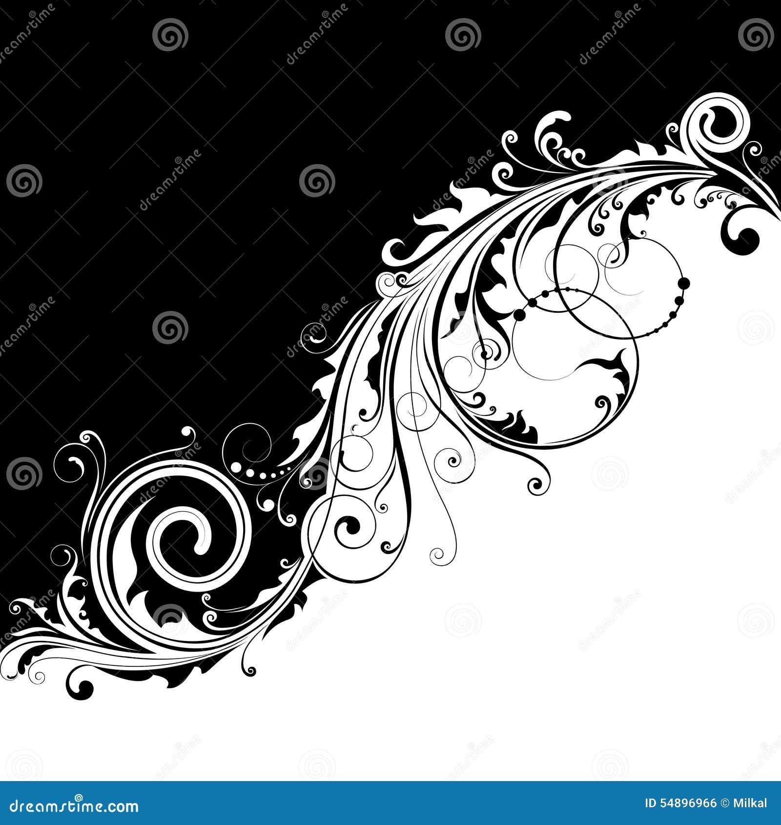 Black Corner Swirls Designs