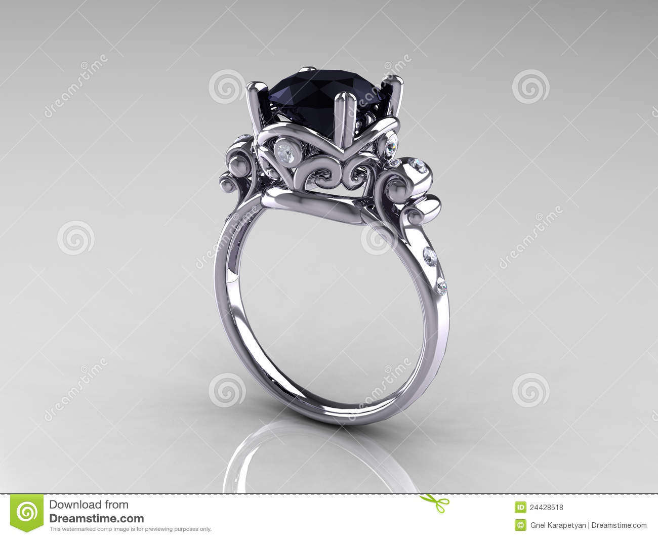Black Diamond Platinum Antique Engagement Ring Royalty Free Stock s Im
