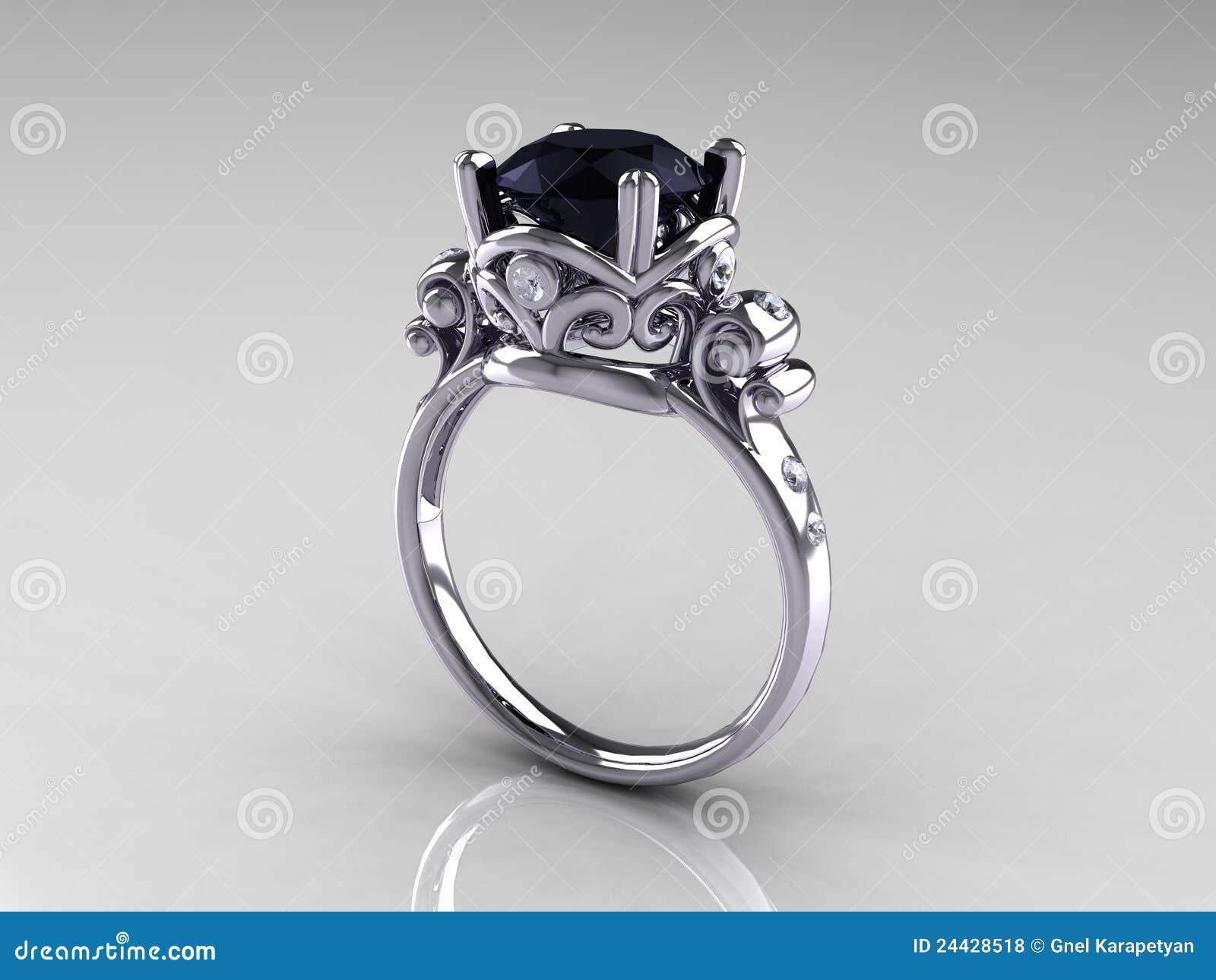 Black Diamond Platinum Antique Engagement Ring