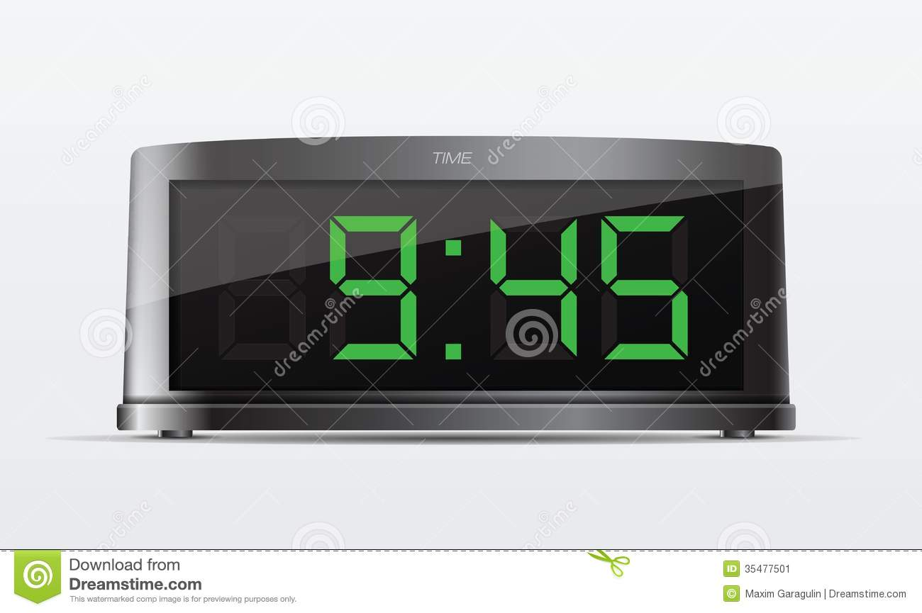 black digital alarm clock vector illustration stock image