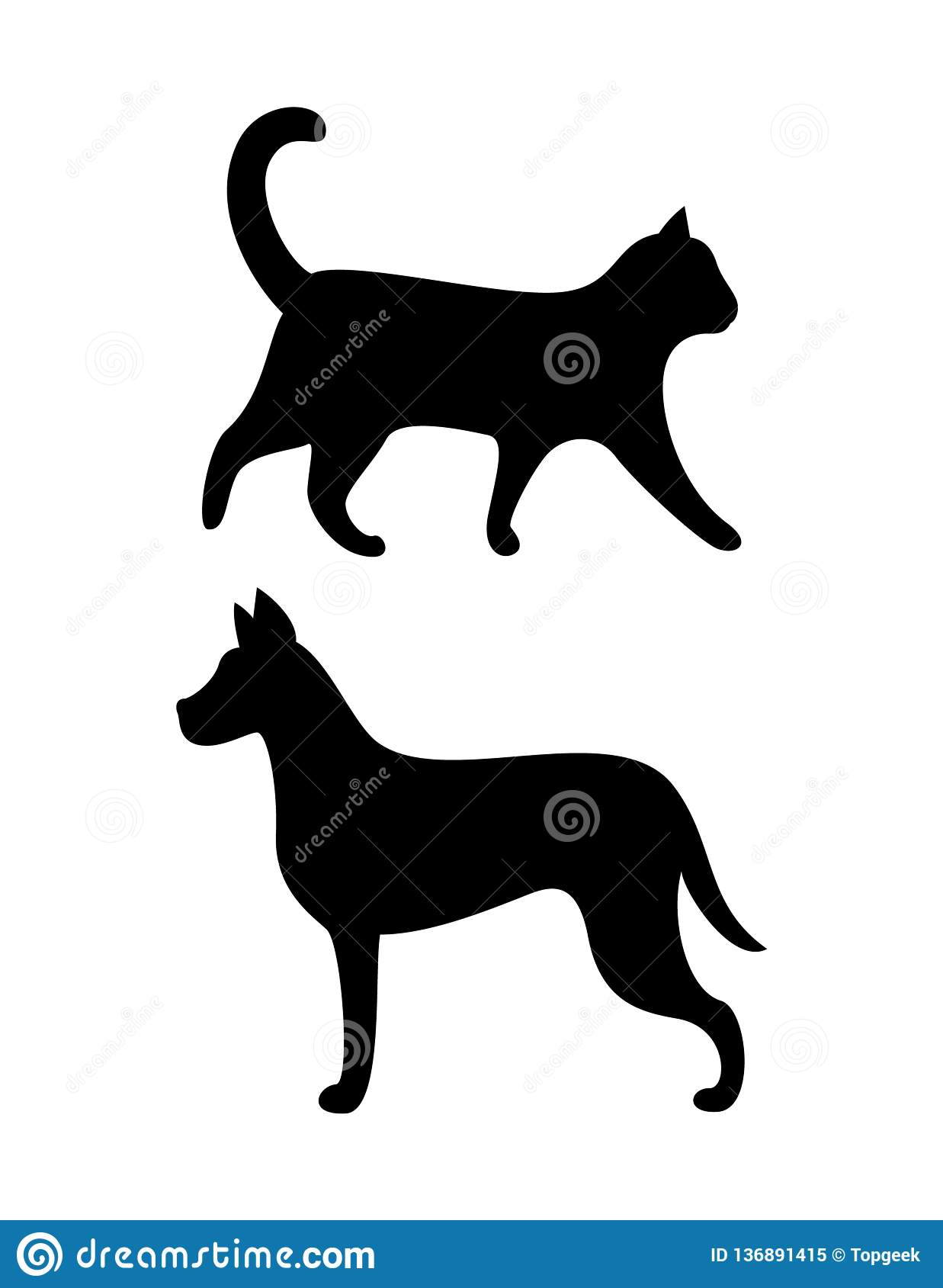 Black Dog and Cat Silhouettes Vector Canine Feline