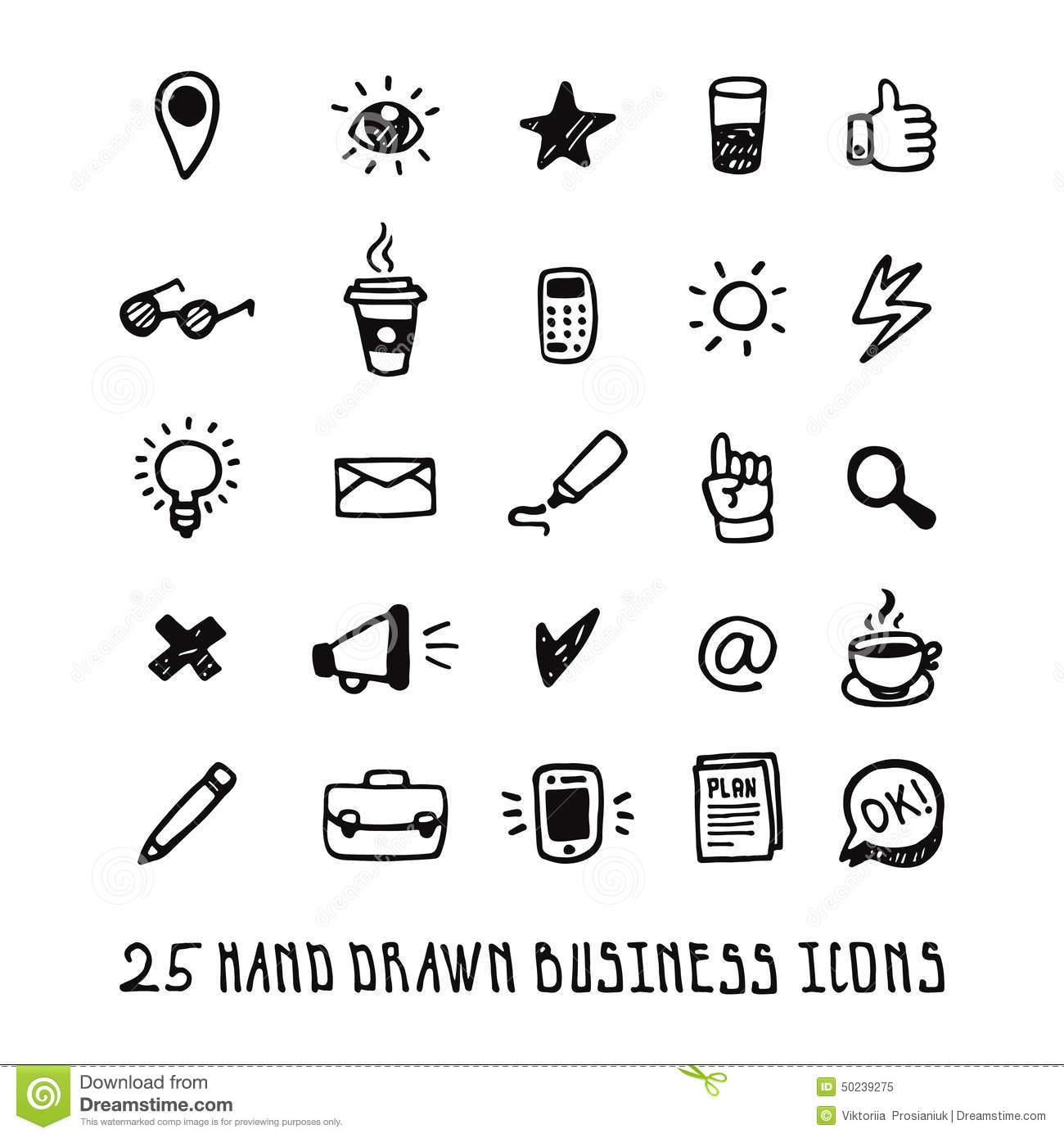 Hand Drawing Line Icons : Black doodle hand drawn business icons set stock vector