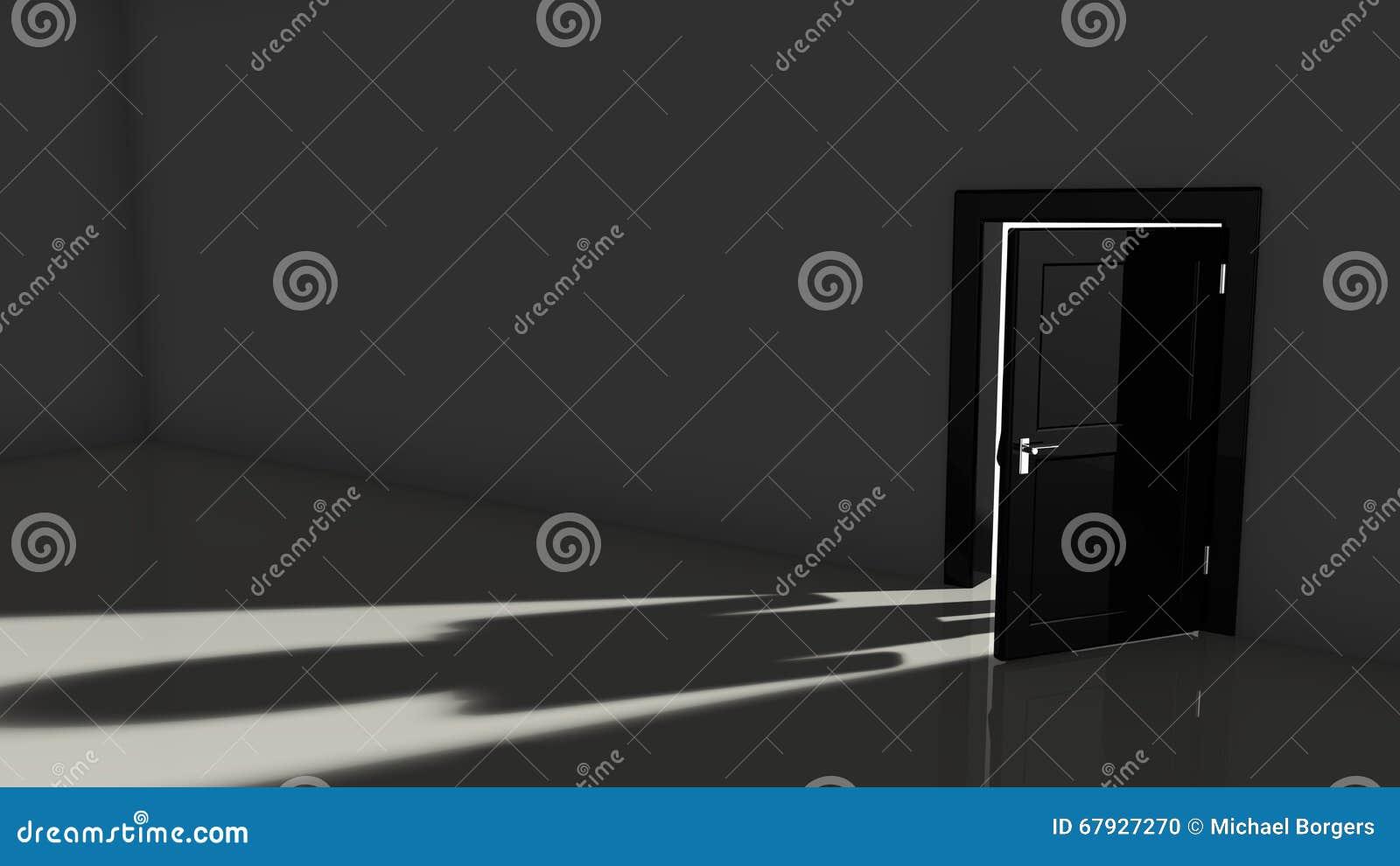Dark room with light through door - Black Dark Door Light Opening Person Room