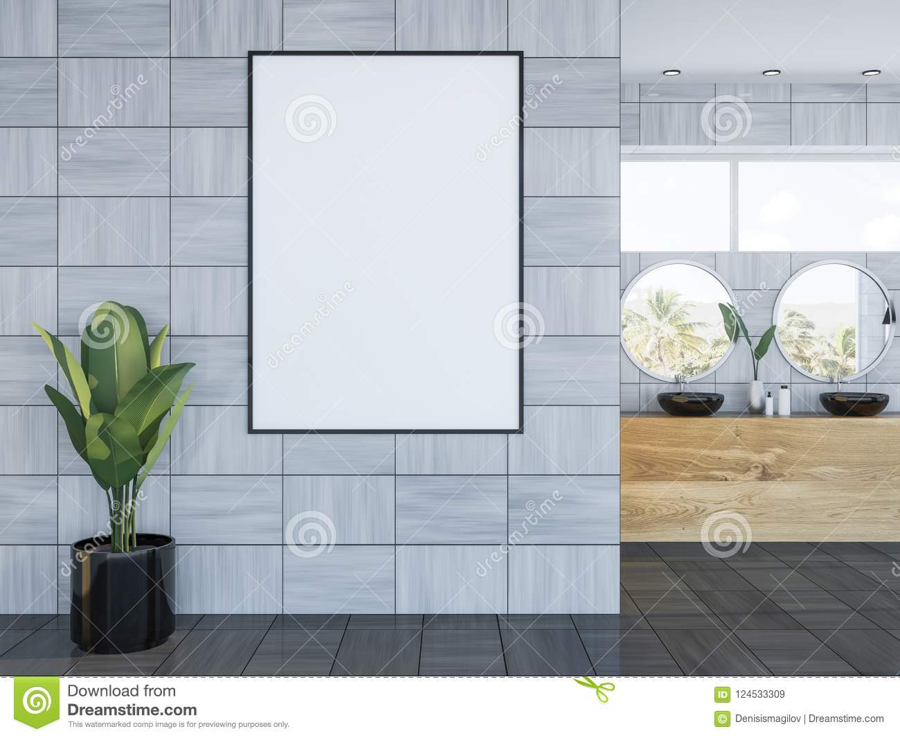 Black Double Sink In Wooden Wall Bathroom, Banner Stock Illustration ...
