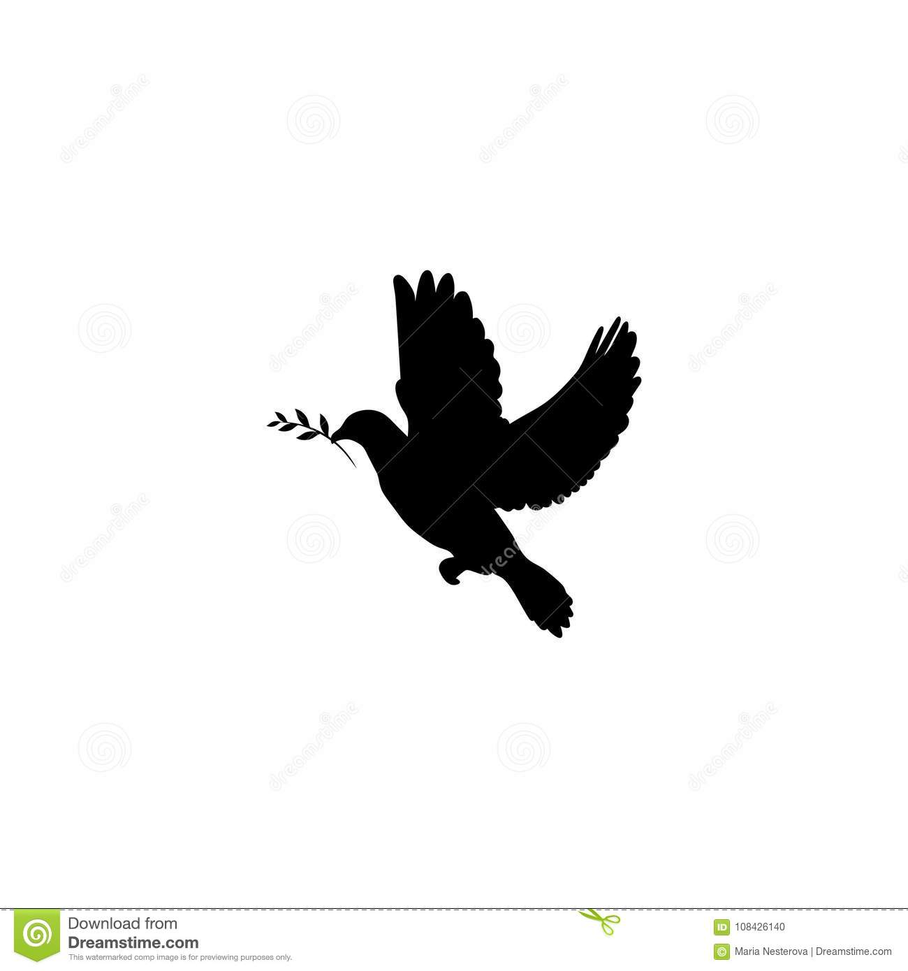 Black Dove With Olive Sprig Icon Isolated On White Peace Symbol
