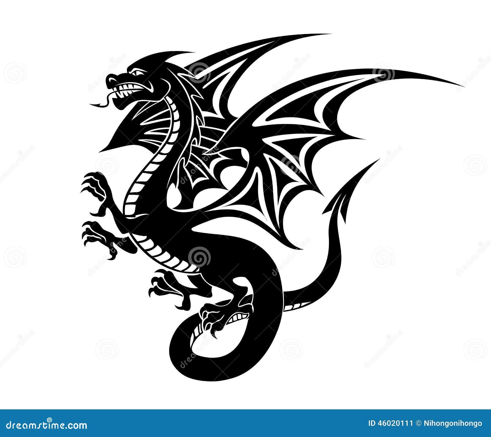Black Dragon Tattoo Stock Vector. Illustration Of Fortune