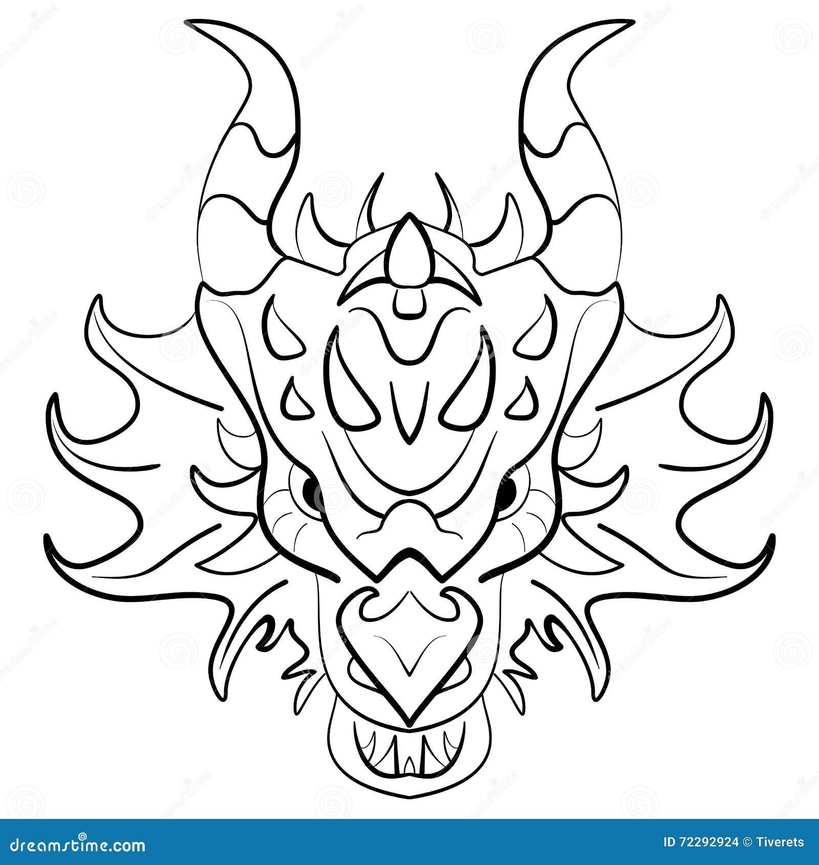 Black Dragon Tattoo Design On White Background Stock