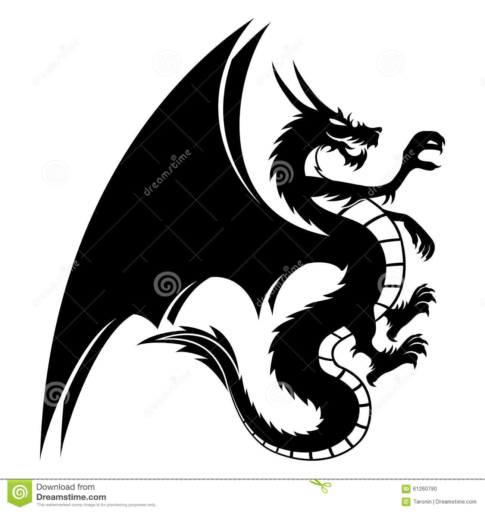 Black Dragon On White. Stock Vector - Image: 61260790