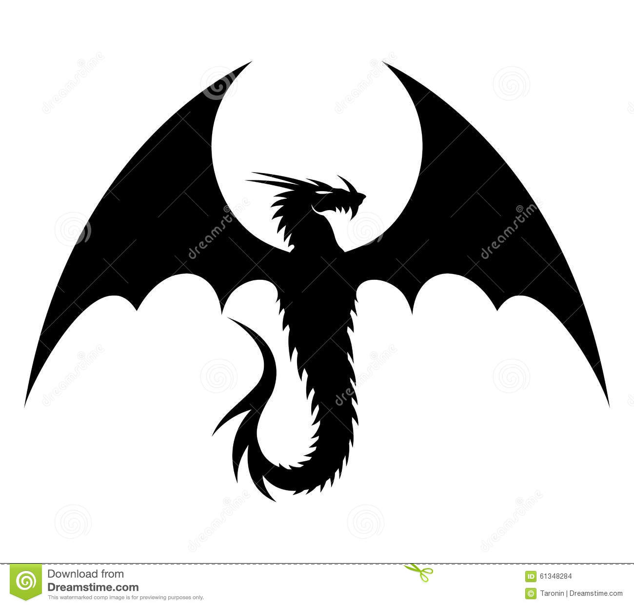 Black Dragon On White. Stock Vector - Image: 61348284