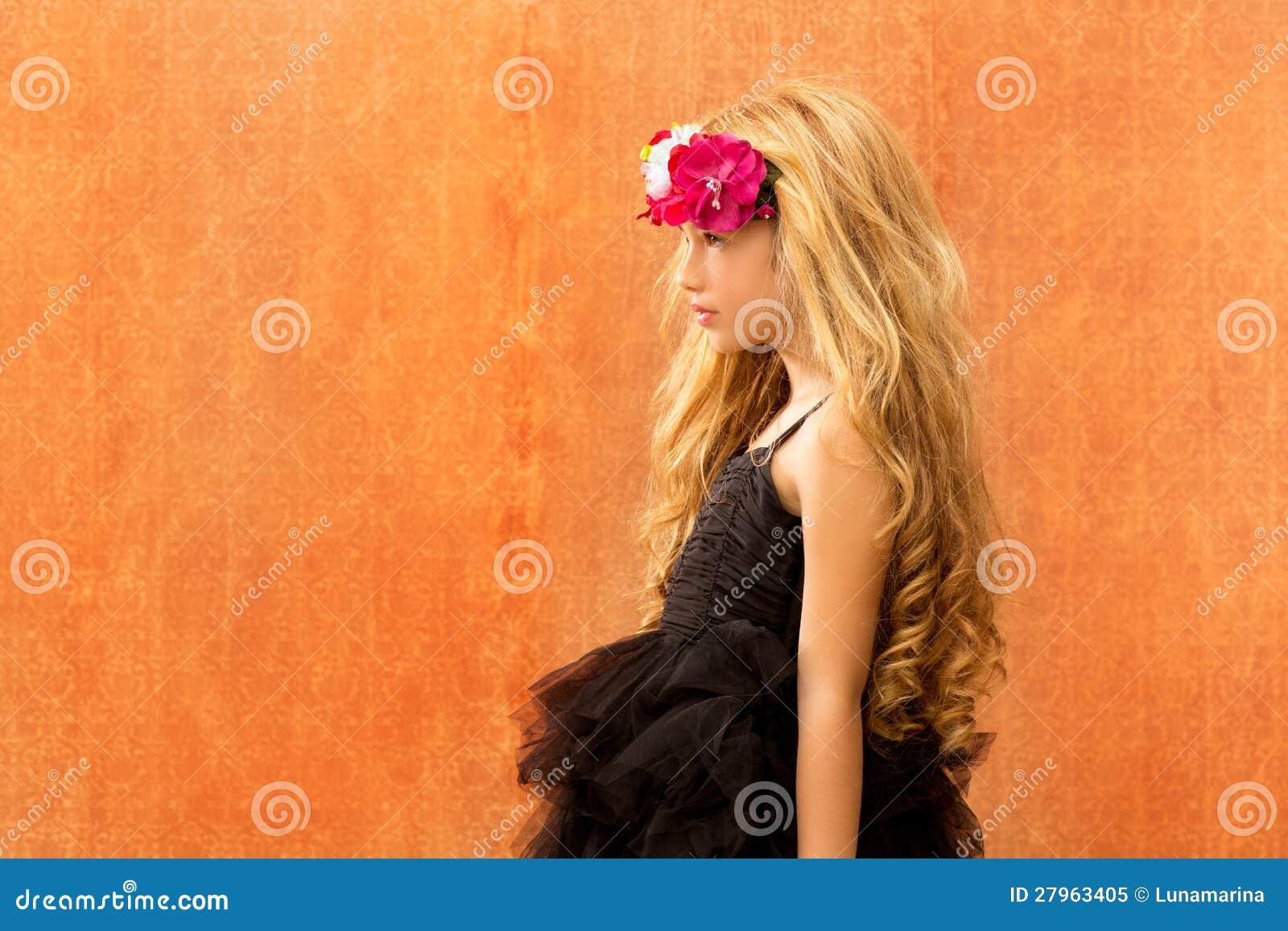 Vintage Retro Background Of Girl Profile Stock Photo ...