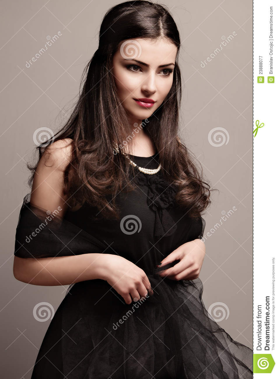 aaf81d7aa3d Black dress and pearls stock image. Image of female