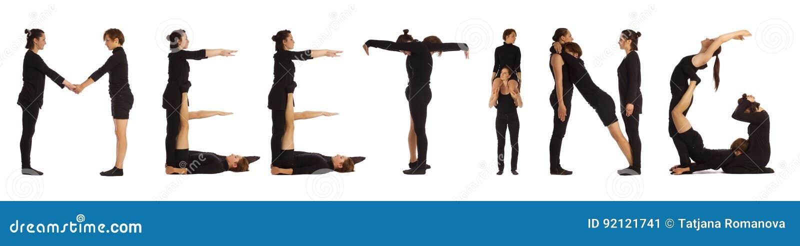 Black dressed people forming word MEETING