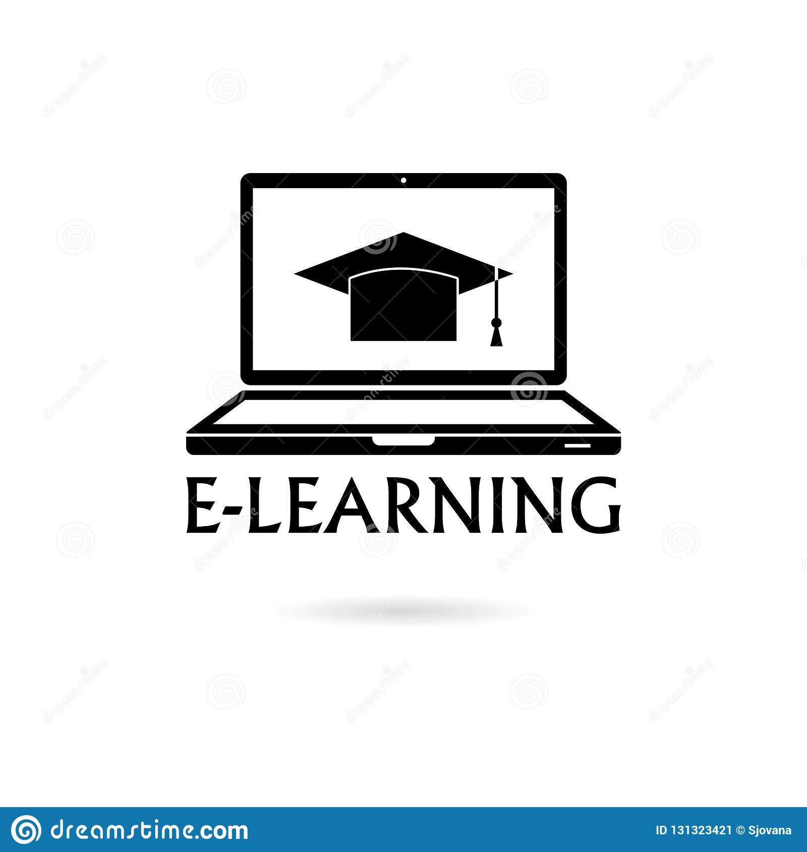 Black E Learning Creative Icon Or Logo Stock Vector Illustration Of Science Black 131323421