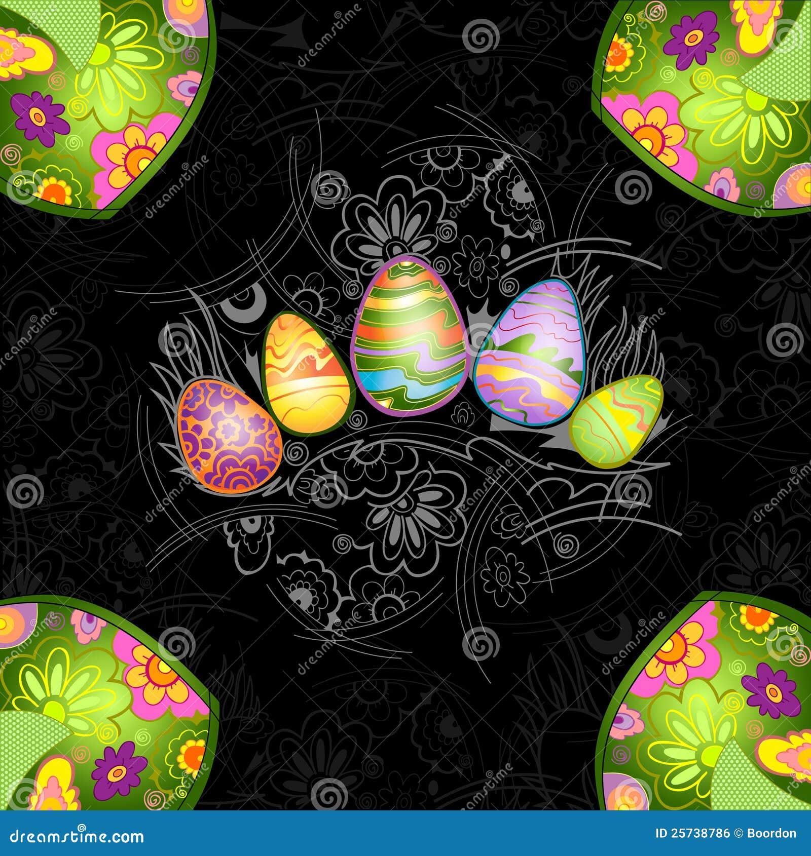 Black easter egg background