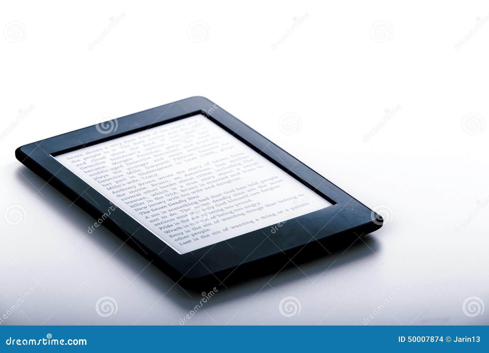 Black Ebook Reader Or Tablet On White Background Stock Photo - Image