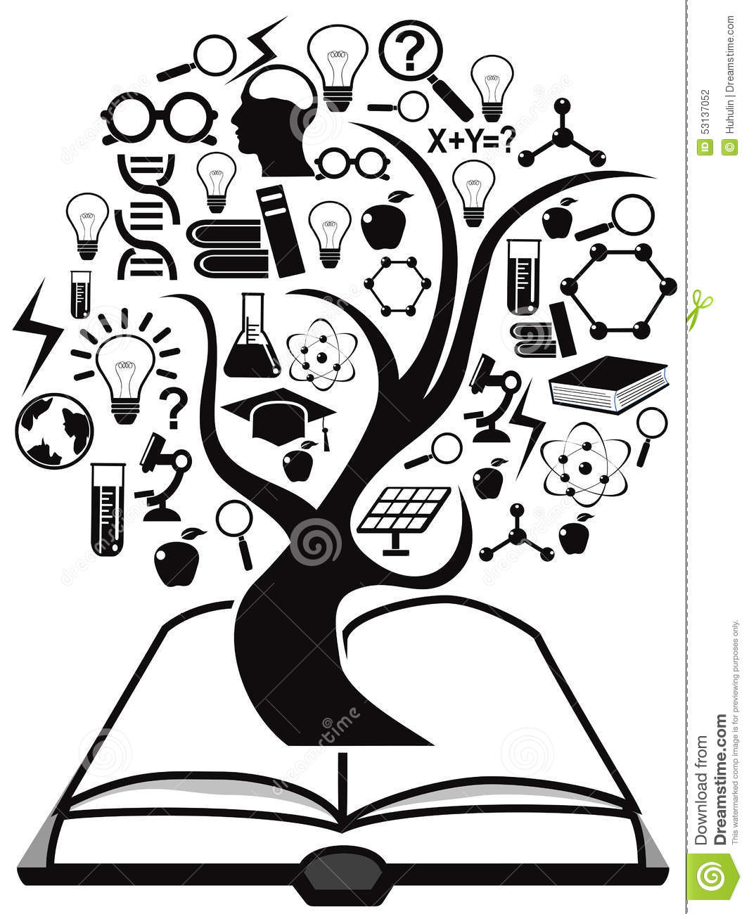 Black Education Icons Tree Up From Book Stock Vector - Image: 53137052
