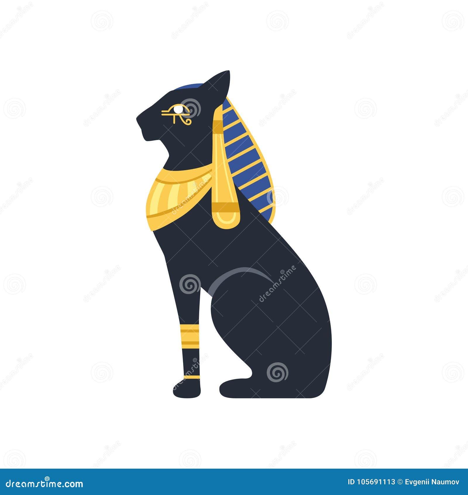 Black Egyptian Cat Bastet Ancient Egypt Goddess Vector