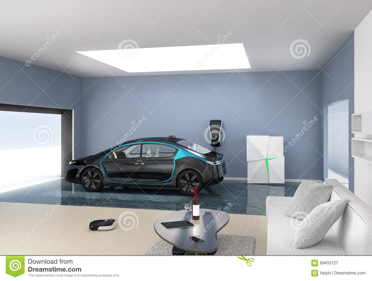 Black electric car park into modern garage stock for Design moderno garage per auto