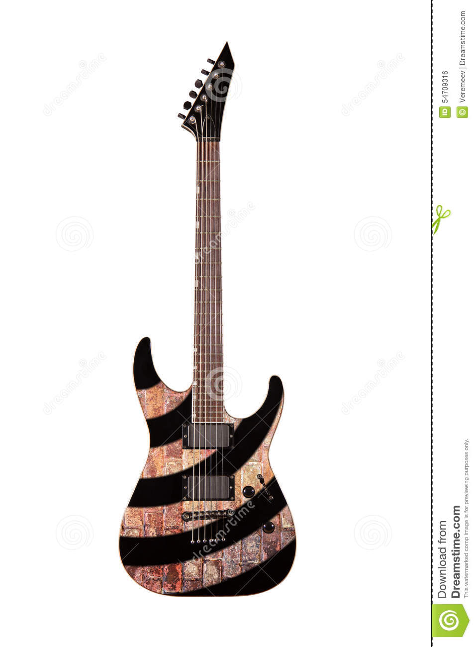 black electric guitar isolated on white background stock photo image 54709316. Black Bedroom Furniture Sets. Home Design Ideas