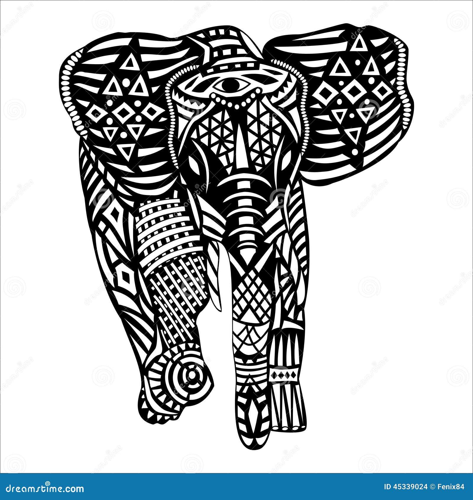 Olifant Kleurplaat Volwassenen Black Elephant With White Patterns On Body Stock Vector