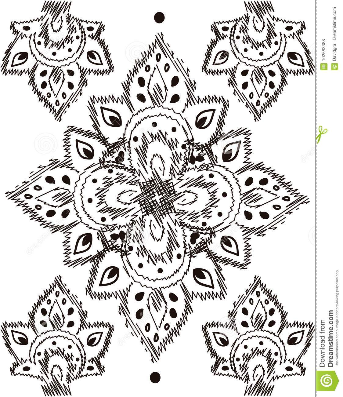 Black And With Embroidery Pattern Stock Vector - Illustration of ...