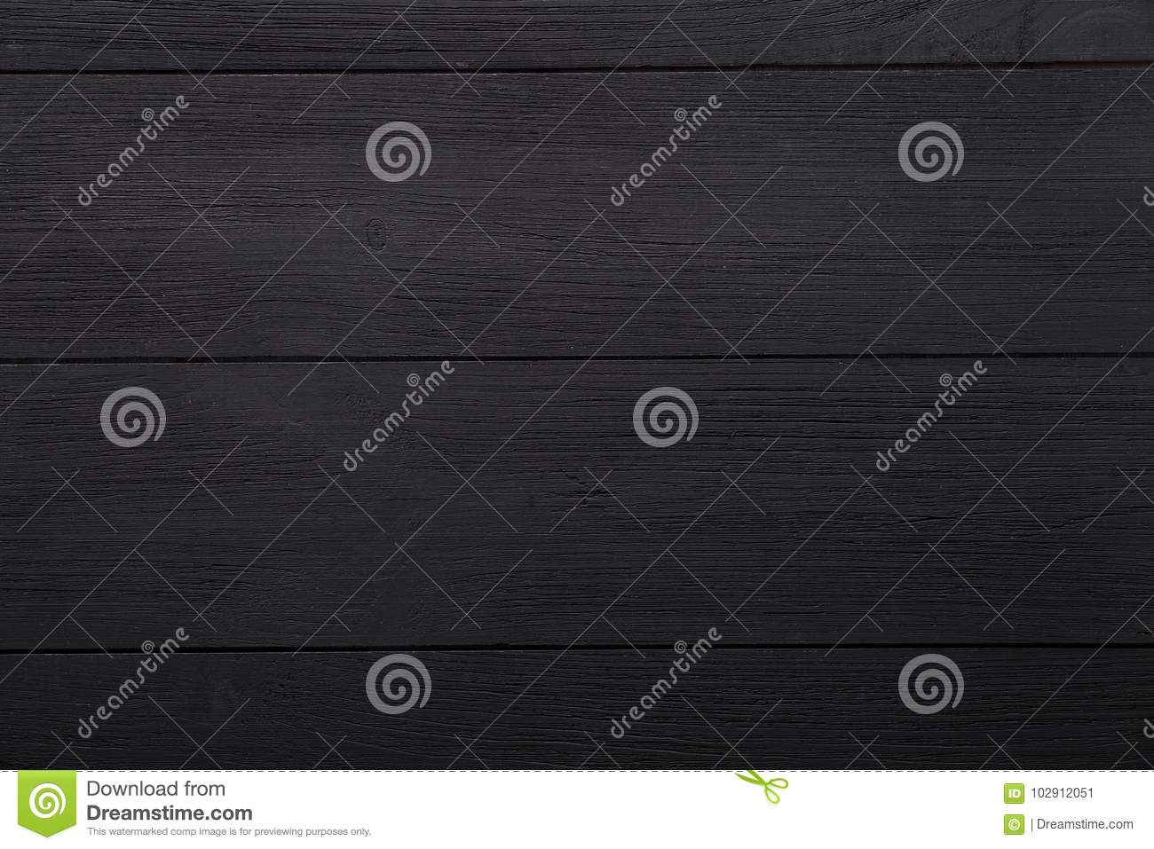 Black empty blank wooden background, painted dark table desk surface, wood texture boards with copy space, top view