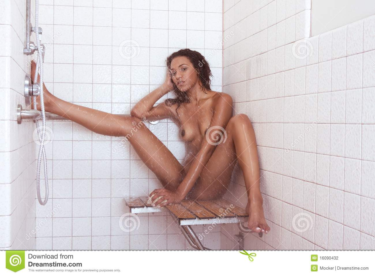 Nude woman in shower pic