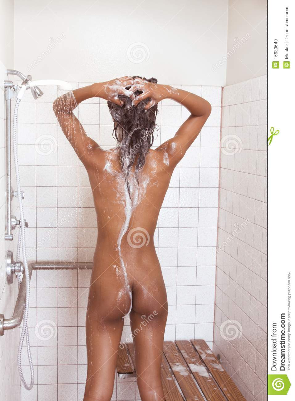 woman naked iin the shower