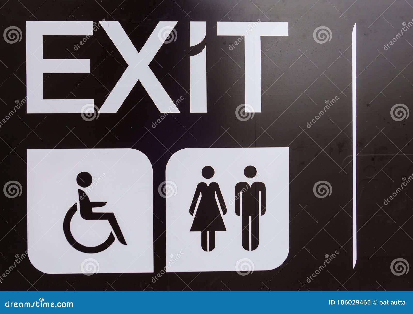 Black Exit Handicap Toilet Sign Disabled