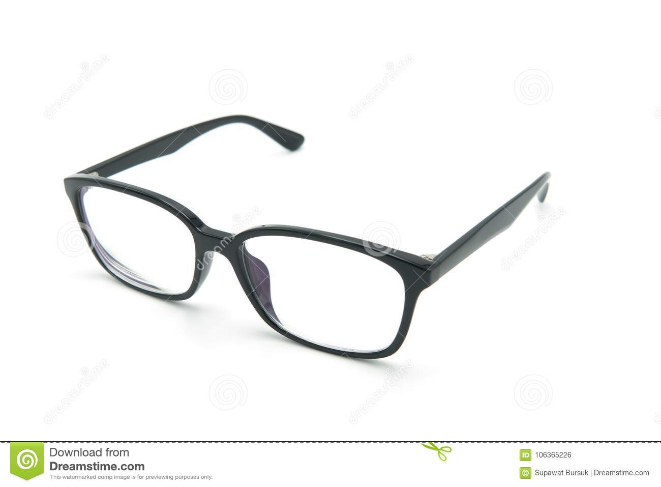 Black eye glasses spectacles with shiny black frame For reading daily life To a person with visual impairment. White background
